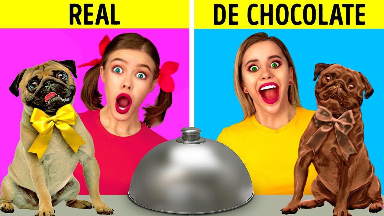 DESAFÍO DE COMIDA REAL VS. DE CHOCOLATE    ¡Bromas graciosas! Test de sabor por 123 GO! FOOD