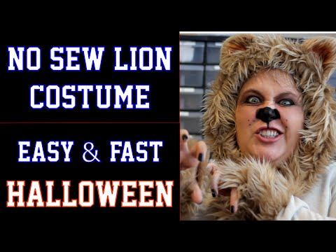 No Sew Lion Halloween Costume - DIY Fast and Easy (Wizard of Oz - Cowardly Lion)