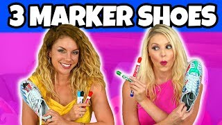3 MARKER SHOE CHALLENGE (We Draw Disney Movie Themed Shoes Art) Totally TV