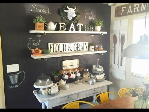 Farm Kitchen Chalkboard Wall and Chalk Painted Table