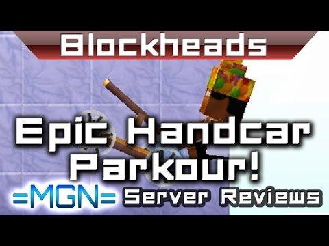 Blockheads 1.6 - AMAZING handcar sky parkour!