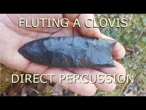 fluting a Clovis point with direct percussion