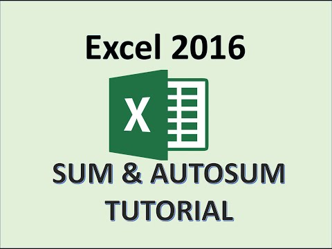 Excel 2016 - SUM Function - How To Use The SUM Button Auto Add Up a Range and Calculate In Columns