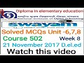 Solved MCQs Unit -6,7,8 Course 502 NIOS  D.el.ed Free/cheapest online एजुकेशन college degree