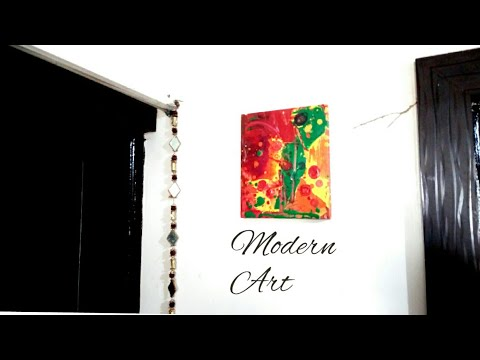 Abstract Acrylic Modern Art - DIY Home Decor | Very Easy Colourful painting