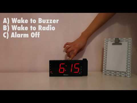 How to set alarm in projection radio clock