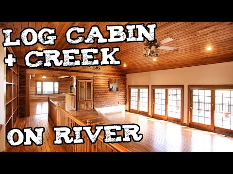 Log Cabin w Creek in Kentucky - Small house Log home prepper survivalist