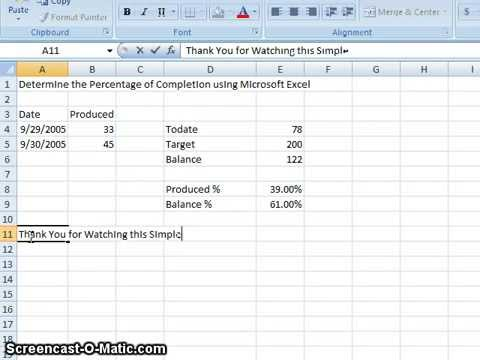 00020 - Determine The Percentage Of Completion Using Microsoft Excel