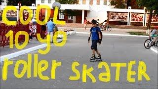 10 year old boy showing some roller skating tricks