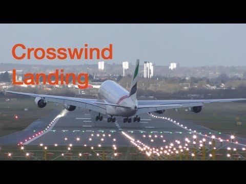 Storm Eleanor Great Piloting skills Airbus A380 Crosswind Landing and Takeoff Birmingham airport