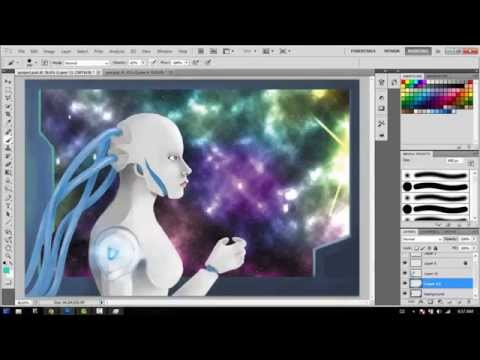 Photoshop simple sci-fi android painting