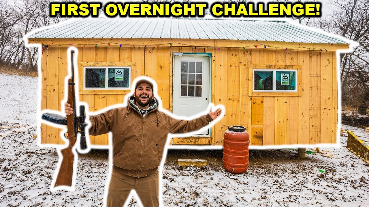 OVERNIGHT in My Backyard OFF-GRID CABIN for the FIRST TIME!!!! (Snowstorm)