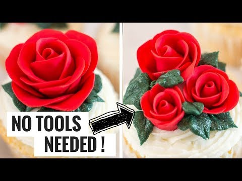 Easy Fondant Rose - No Tools Needed