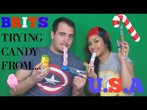 BRITS TRYING CANDY FROM THE U.S.A!! feat my boyfriend! COLLAB WITH MICHELL RAHIMA!!