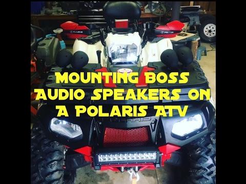 How to mount boss Audio 1000 watt speakers to ATV. Boss MCBK470B 1000 watt. Polaris 850xp.