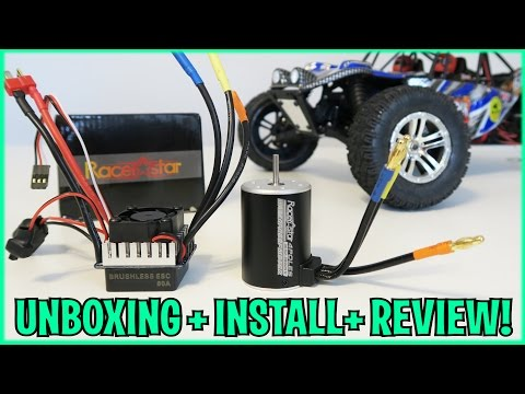 UNBOXING + INSTALL + LETS PLAY! - Racerstar 3650 BRUSHLESS Motor UPGRADE + 60A ESC - Truck Truggy RC