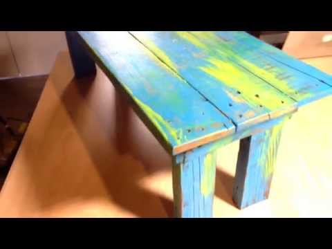 Handmade coffee table with vintage paint and finish