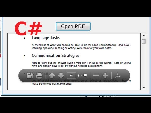 C# Tutorial 31:  How to open and show a PDF file inside the Form