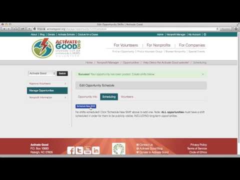 Activategood.org - Nonprofit Website Tutorial - Scheduling Volunteer Opportunity Shifts