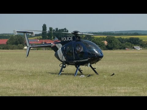 Hungary - Police McDonnell Douglas MD-500E landing and takeoff at Gödöllő airfield