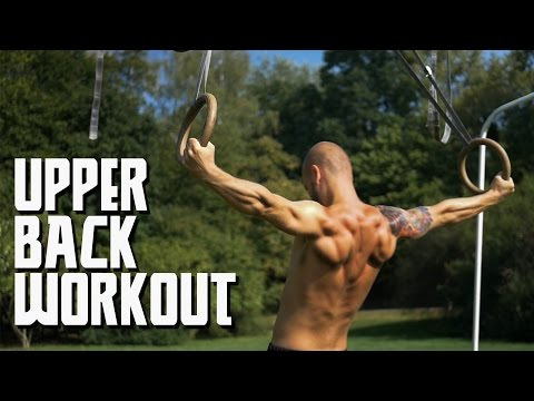 Upper back workout using rings/TRX