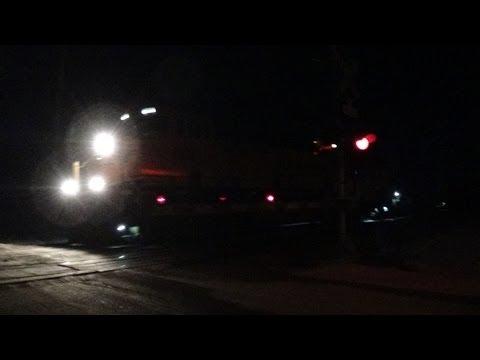 BNSF coal train at night plus Amtrak emergency radio call