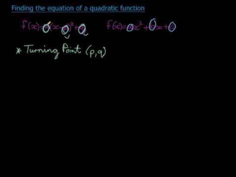 Finding the equation of a quadratic function given the turning point