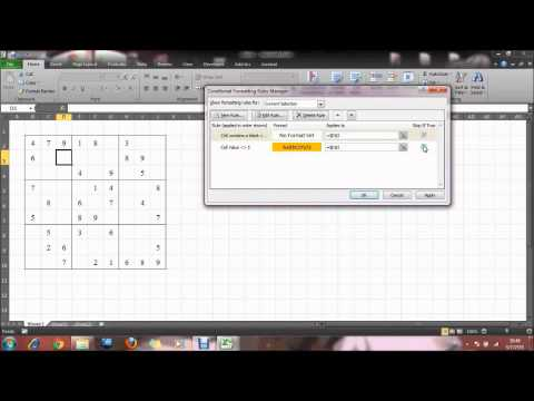 How to create sudoku by Microsoft Excel. sec11