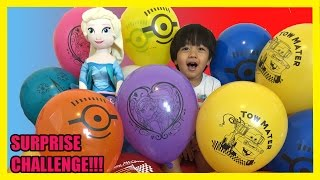TOYS SURPRISES GIANT BALLOON DROP POP CHALLENGE Kid Video Frozen Elsa doll  Ryan ToysReview
