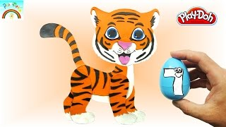 How to best Play Doh Creation  (Cute Tiger Cartoon) animals  for Kids