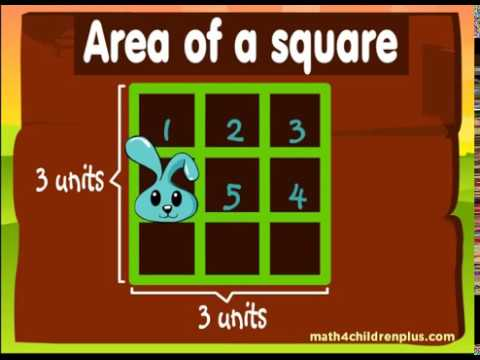 Video on how to calculate the area of a square for children