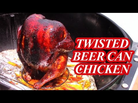 Twisted Beer Can Chicken smoked on the Weber Kettle Grill