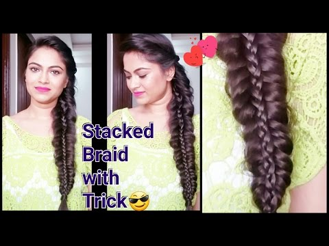 STACKED BRAID//Everyday easy hairstyles for medium to long hair//indian hairstyles