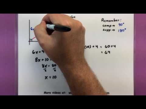Trigonometry - Find x using the complement and supplement