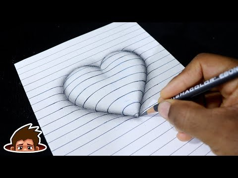 How to Draw 3D Embossed Heart on Paper - Corazón en Relieve - Easy Drawing