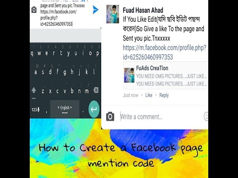 How to create a facebook page mention code on androaid