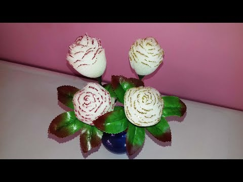 How to make white rose flowers with sponge || Making flowers with hand