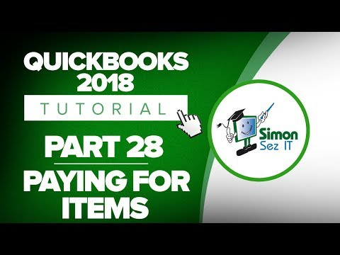 QuickBooks 2018 Training Tutorial Part 28: Paying for Items in QuickBooks