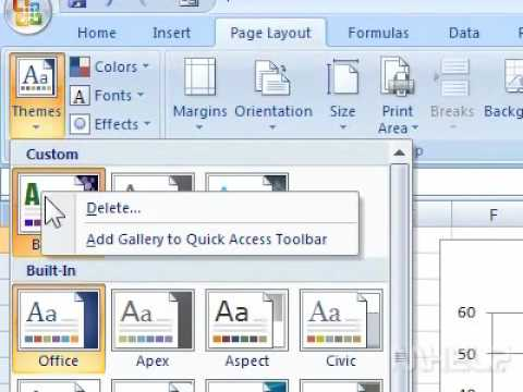 How to delete a custom theme in Excel