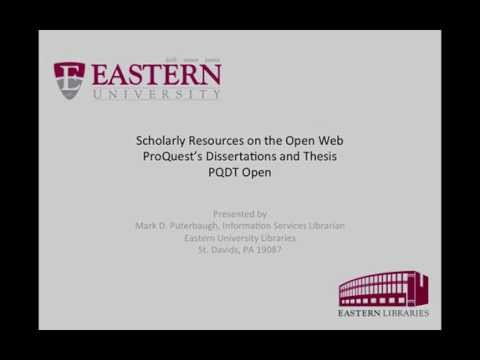 PDQT Open - ProQuest's Dissertations and ThesisPQDT Open