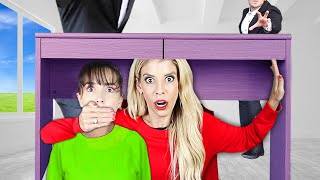 The BEST Hiding SPOT! Hide and Seek Chase in ESCAPE ROOM to Rescue Best Friend | Rebecca Zamolo