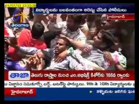 Tense Created In Protests Against Scholarships BY SFI  At Hyderabad