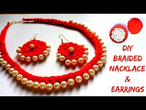 DIY Braided Woolen Pearl Necklace With Matching Earrings || Woolen Jewellery Making at Home ||