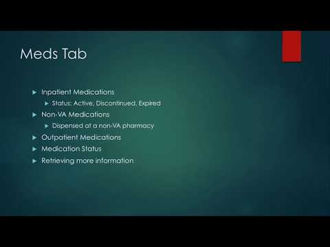 Intro to CPRS For Nursing Students 10: Medications Tab