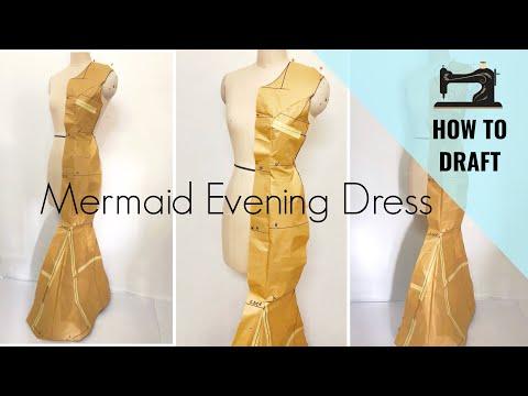 Princess Cut on Mermaid Dress / How to Draft Princess Cut Dress on Professional Ways
