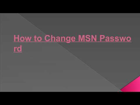 How to Change MSN Password