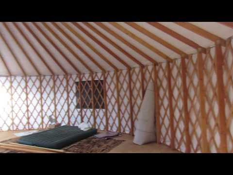 Inside tour of newly put up unfinished 30 foot yurt