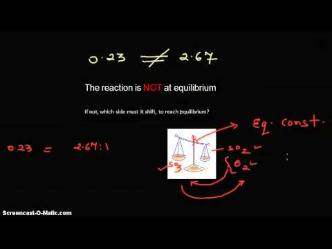 Video - SO3  ↔   SO2 + O2. Which side the reaction must shift to attain equilibrium and why?