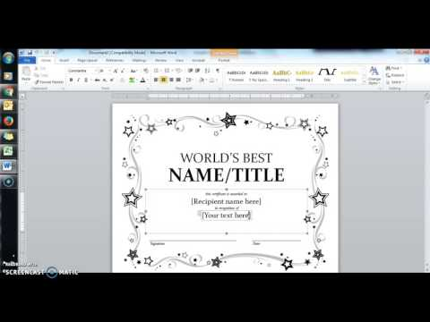 Mail Merge to Make certificates