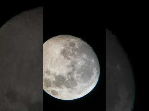 Moon Celestron Telescope and cell phone mount. 4k